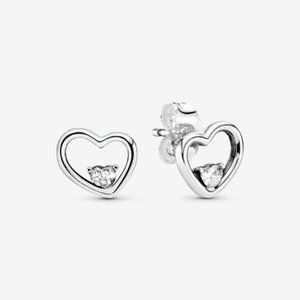 PANDORA Asymmetrical Heart Stud Earrings